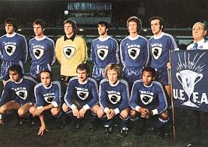 Foto de un once inicial del SC Bastia, finalista en la Copa de la UEFA de 1978.